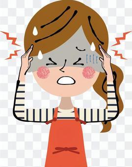 頭痛傷害頭痛圍裙女性上半身