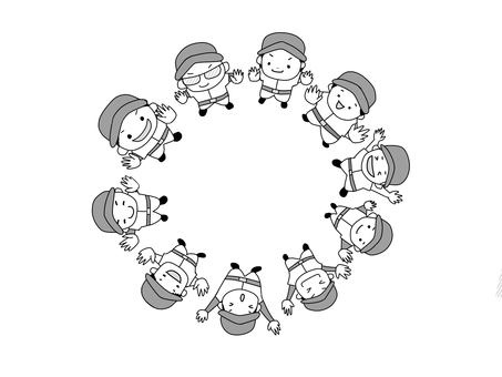 Banzai in a circle [for black and white printing]