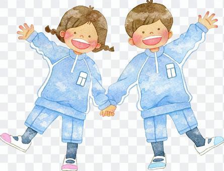 握手和健身房制服的孩子
