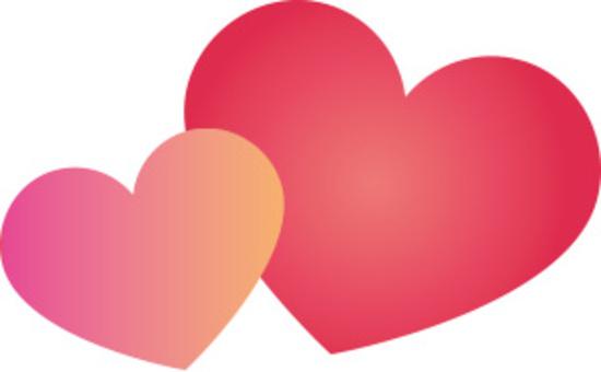 可愛的心粉紅色和紅色