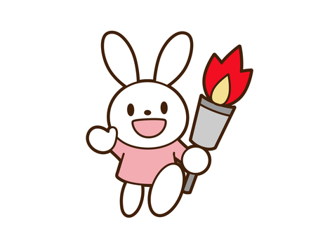 拿著火炬奔跑的兔子