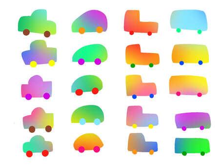 Watercolor style rainbow 【car】
