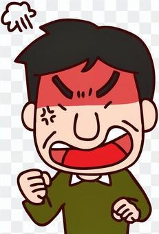 生氣的臉上的父親的插圖變成了紅色