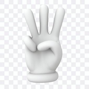 Hand sign 3, 3D illustration