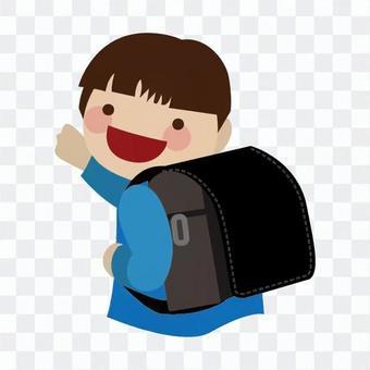 男孩背著書包