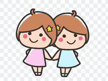 Cute twin children, Gemini