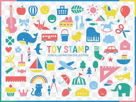 可愛的郵票風格圖標集