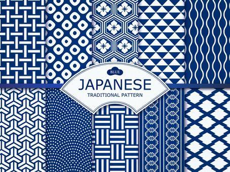 Simple Japanese pattern (dark blue)
