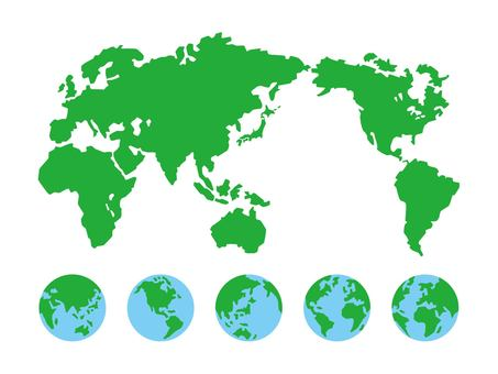 世界地圖和地球