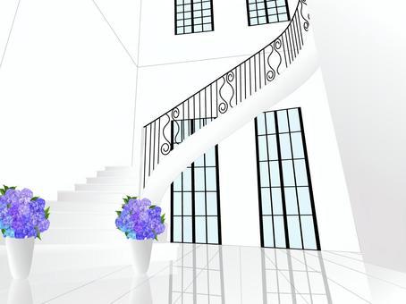螺旋階段と紫陽花