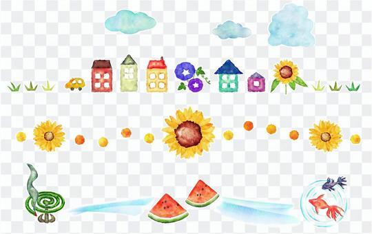 夏天的藍天和房子和花的水彩畫的裁決線
