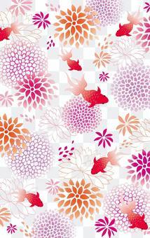 花和金魚日本插圖感覺夏天