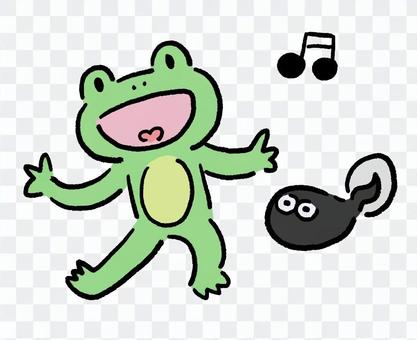 Singing frog and tadpoles