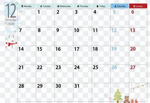 2020年12月日曆新