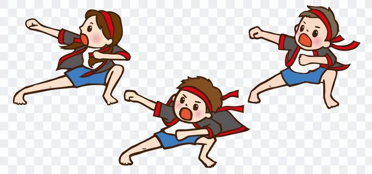 孩子們在運動會上表演Nanchu Soran Bushi