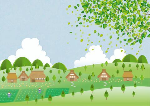 水彩綠色和家庭背景圖像