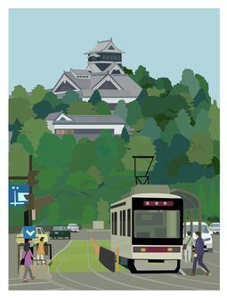 熊本 お城とローカル電車