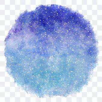 Circle of watercolor painting of winter snow and sky / starry sky
