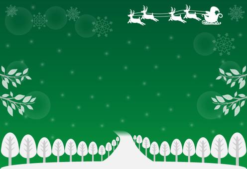 サンタ・シルエット3(緑・ロゴなし)