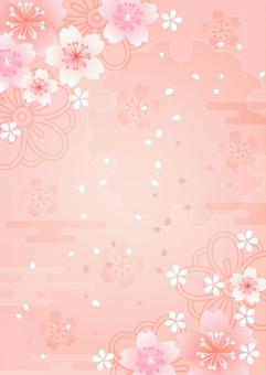 Japanese-style background vertical with cherry blossoms, clouds, snow rings, and pink