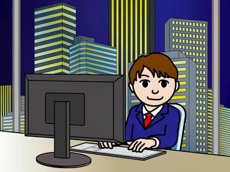 オフィス街(33)夜の高層ビル 若い男性