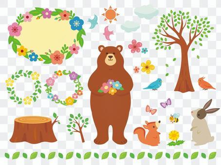 春天自然和動物插圖