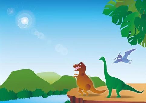 恐竜のいる風景フレーム