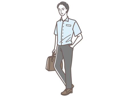 一個穿著短袖襯衫和西裝的男人的插圖