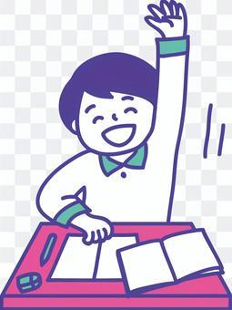 一個孩子舉起他的手,在上課時說的插圖