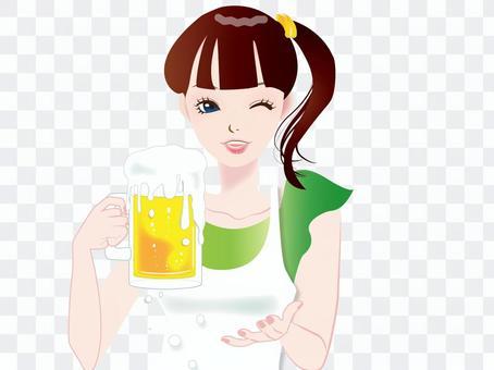 女性55-ビールを飲む女性1
