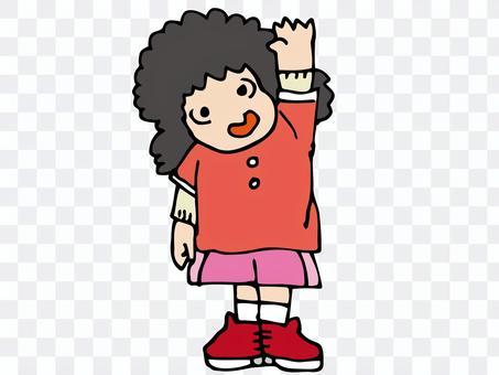 嗨!一個高高興興地舉起她的手的女孩