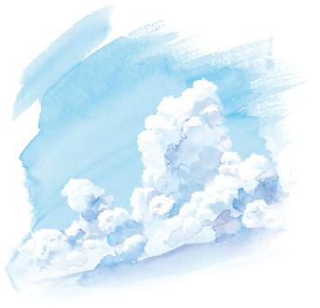 在藍天夏天天空的手繪水彩積雨雲