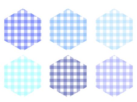 方格格子六邊形套裝:藍色