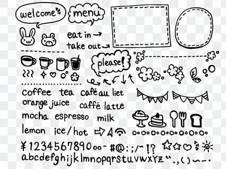 親子咖啡廳風格手寫的材料填充