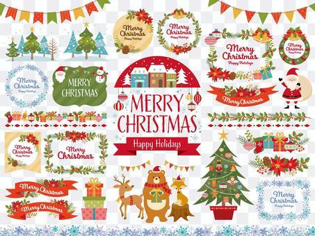 クリスマスのフレームと挿絵のセット