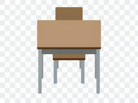 課桌的前面