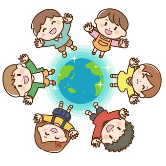 孩子們聚集在地球周圍