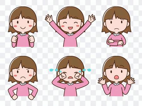 女孩面部表情6種類型設置