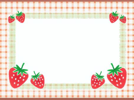 Frame of strawberry and gingham check