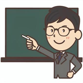 在黑板前面解釋的黑眼鏡的辦公室工作者