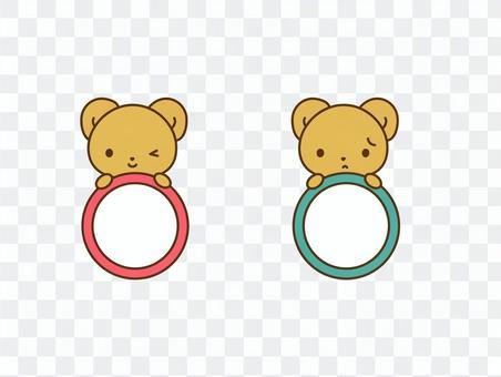 ウィンクするクマと困るクマの丸枠