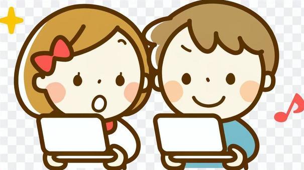 男孩和女孩玩遊戲機