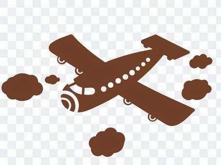 飛機棕色剪影
