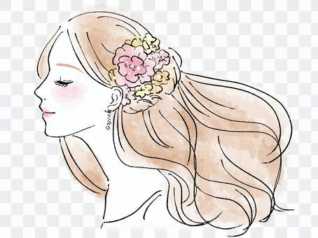 女人穿著花裝飾(水彩觸摸)
