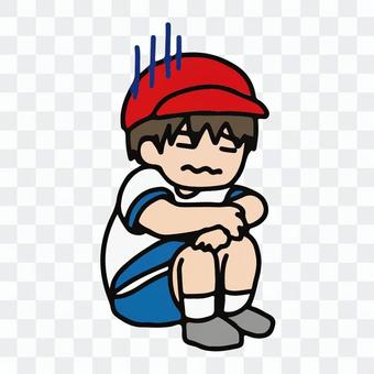 在體育課上生病的男孩