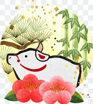 白丑と松竹梅の年賀状素材