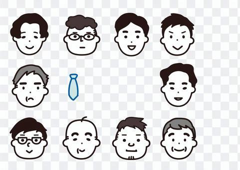 父親節男性簡單臉圖標
