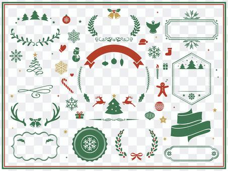クリスマスの装飾とフレームデザインセット