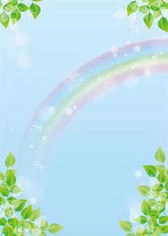 空、虹、背景、A4縦、塗足付