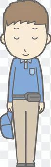 送貨員男性 - 弓微笑 - 整個身體